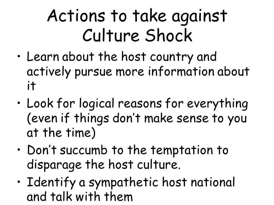 Actions to take against Culture Shock