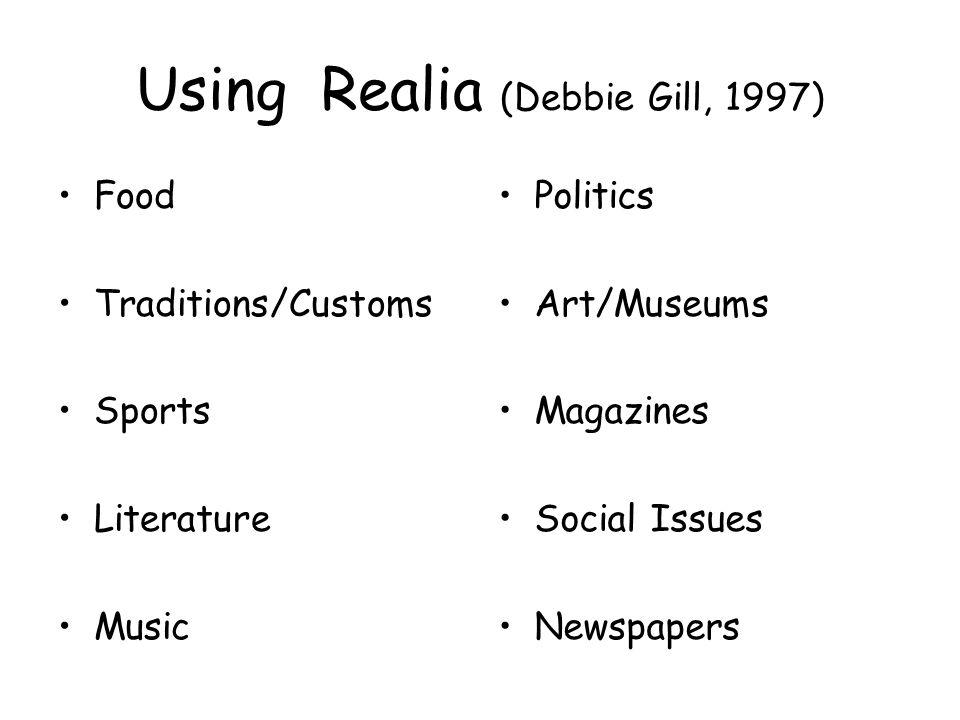 Using Realia (Debbie Gill, 1997)