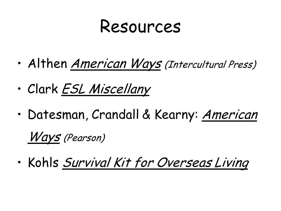 Resources Althen American Ways (Intercultural Press)