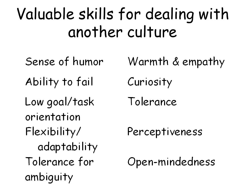Valuable skills for dealing with another culture