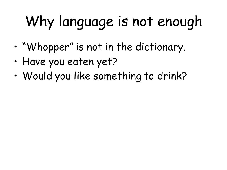 Why language is not enough