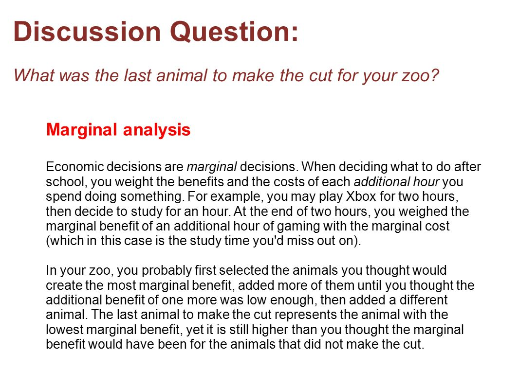 Discussion Question: What was the last animal to make the cut for your zoo