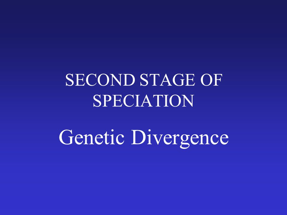 SECOND STAGE OF SPECIATION