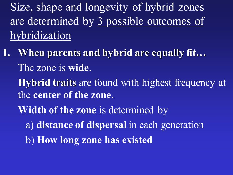 Size, shape and longevity of hybrid zones are determined by 3 possible outcomes of hybridization