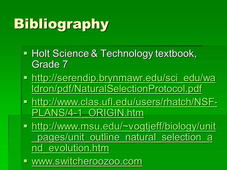 Bibliography Holt Science & Technology textbook, Grade 7