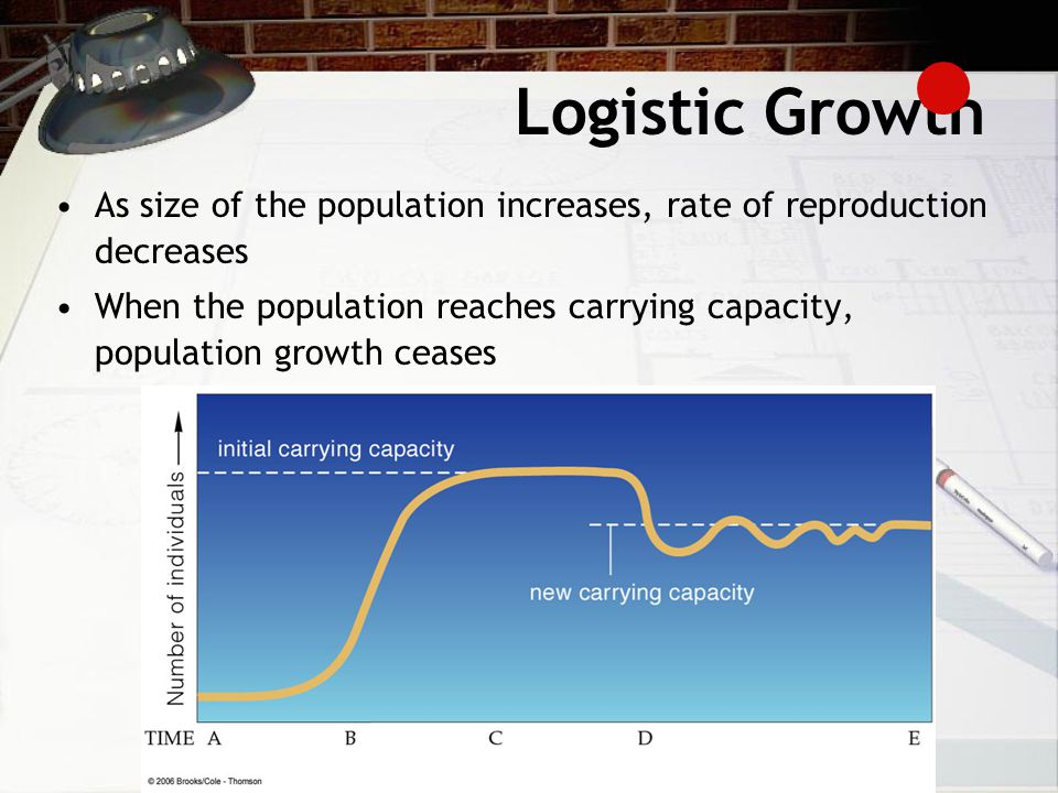 Logistic Growth As size of the population increases, rate of reproduction decreases.