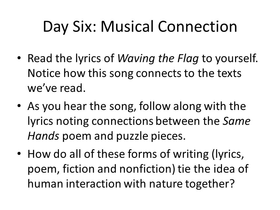 Day Six: Musical Connection
