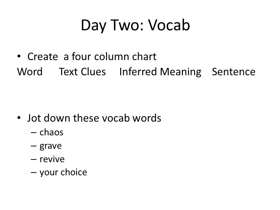 Day Two: Vocab Create a four column chart