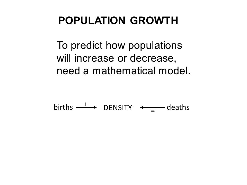 - POPULATION GROWTH To predict how populations
