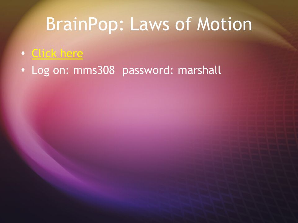 BrainPop: Laws of Motion