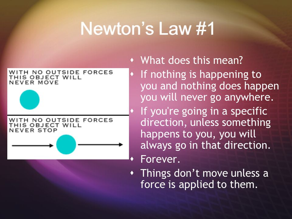 Newton's Law #1 What does this mean