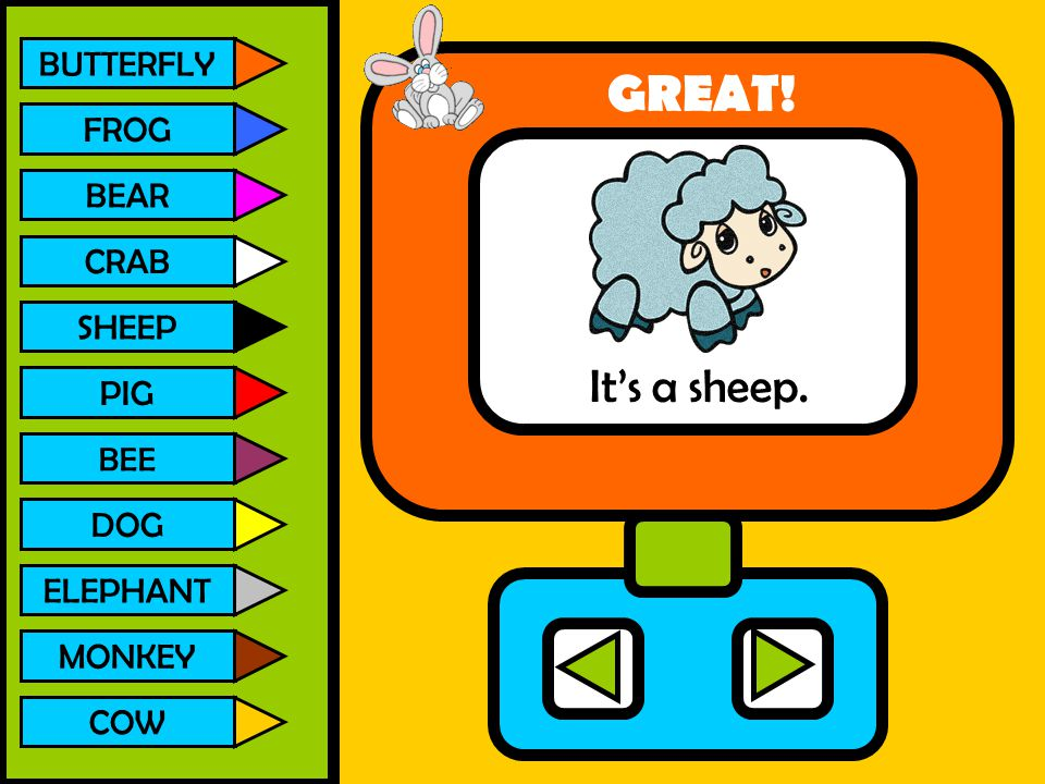 GREAT! It's a sheep. BUTTERFLY FROG BEAR CRAB SHEEP PIG DOG ELEPHANT