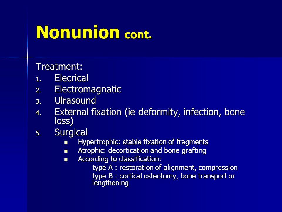 Nonunion cont. Treatment: Elecrical Electromagnatic Ulrasound