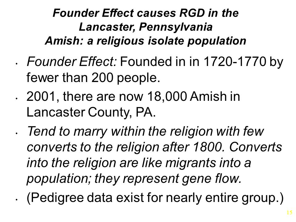 Founder Effect: Founded in in 1720-1770 by fewer than 200 people.