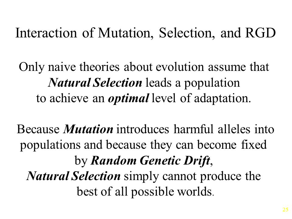Interaction of Mutation, Selection, and RGD