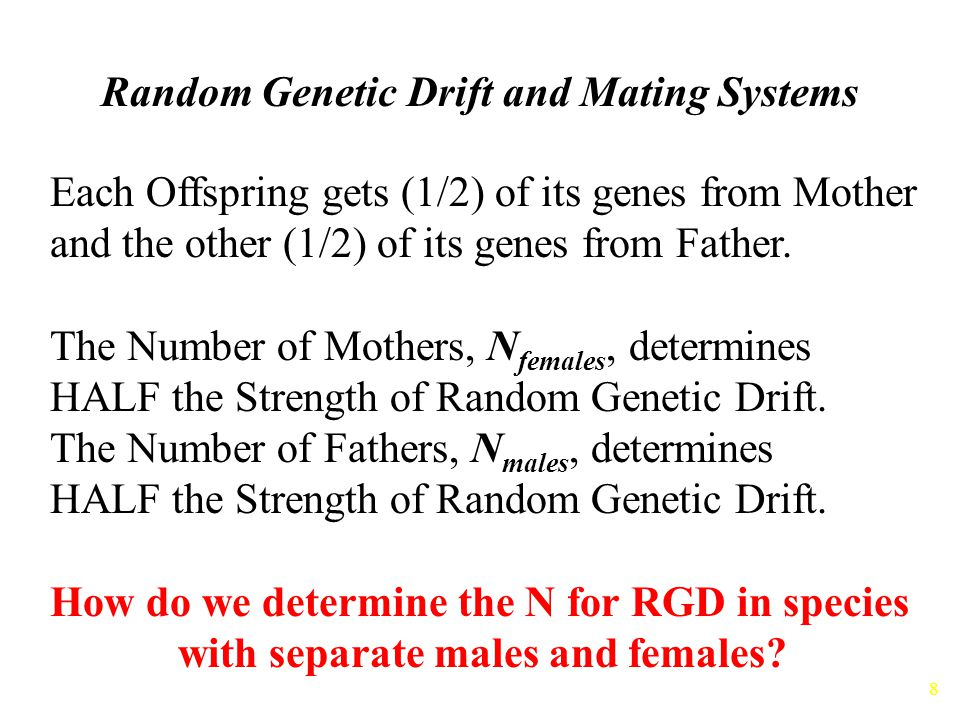 Random Genetic Drift and Mating Systems