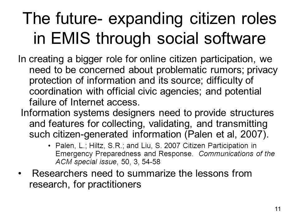 The future- expanding citizen roles in EMIS through social software