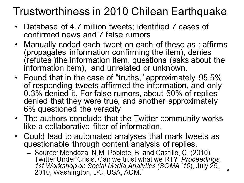Trustworthiness in 2010 Chilean Earthquake