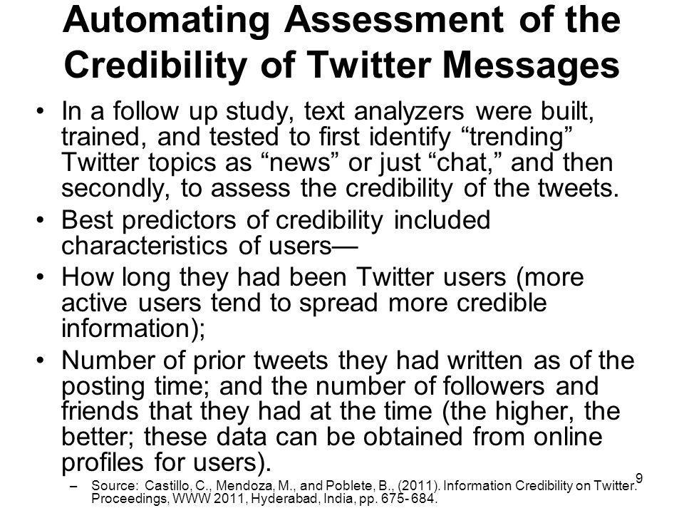 Automating Assessment of the Credibility of Twitter Messages