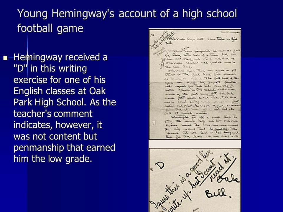 Young Hemingway s account of a high school football game
