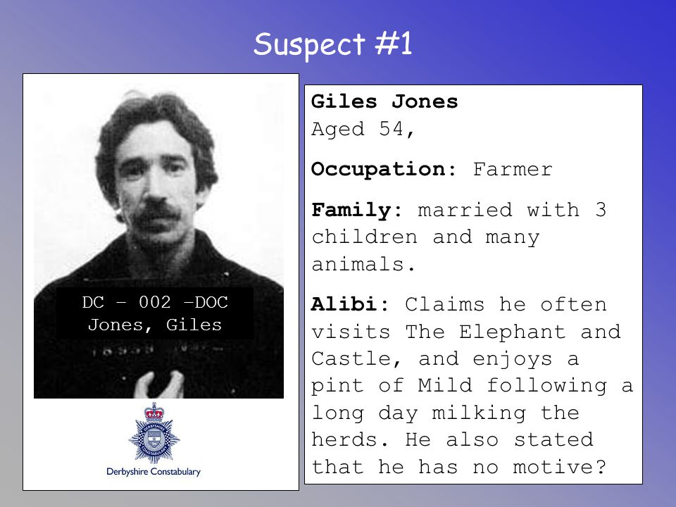 Suspect #1 Giles Jones Aged 54, Occupation: Farmer