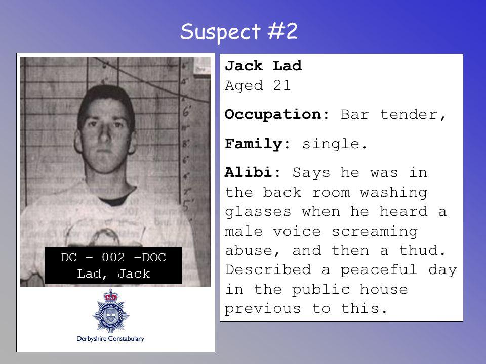 Suspect #2 Jack Lad Aged 21 Occupation: Bar tender, Family: single.
