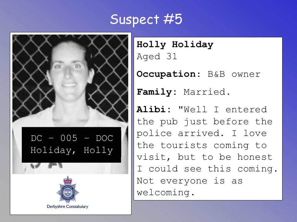 Suspect #5 Holly Holiday Aged 31 Occupation: B&B owner