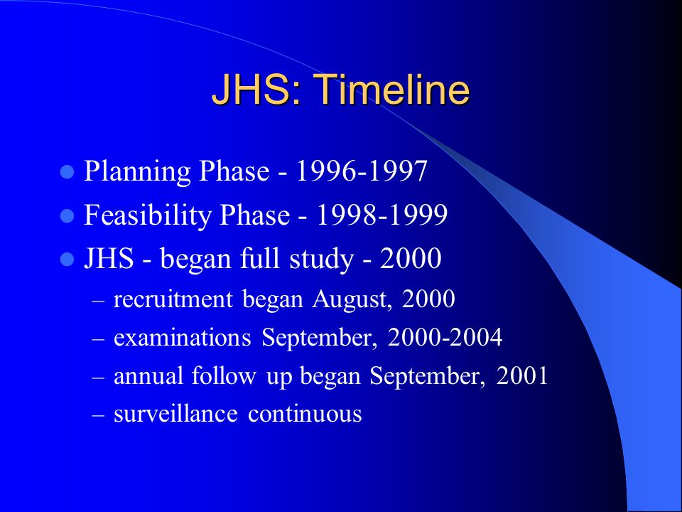 JHS: Timeline Planning Phase - 1996-1997 Feasibility Phase - 1998-1999