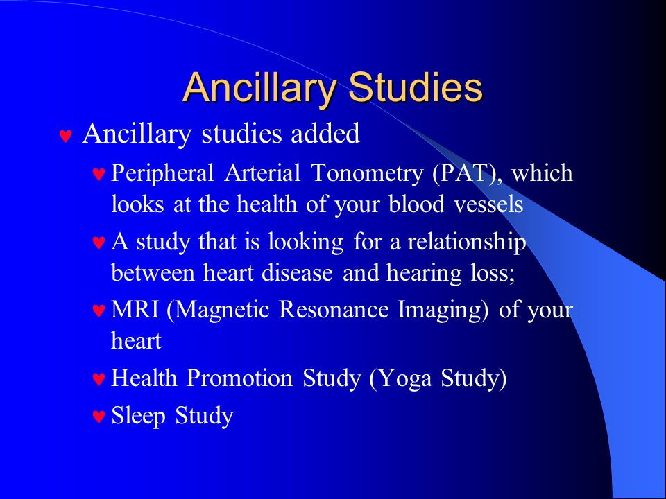 Ancillary Studies Ancillary studies added