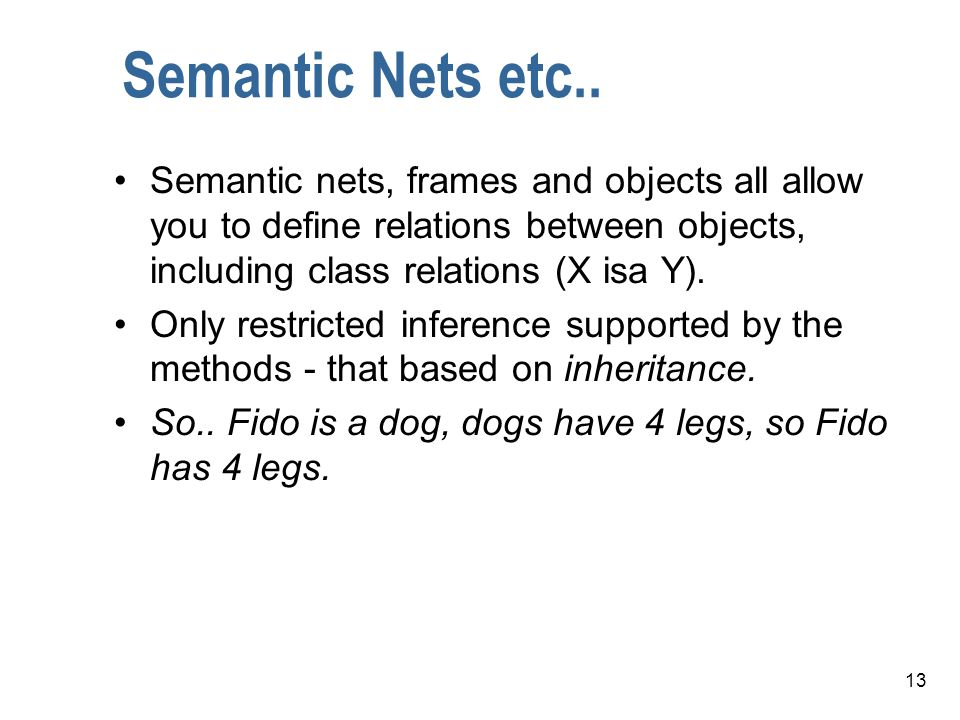 Semantic Nets etc.. Semantic nets, frames and objects all allow you to define relations between objects, including class relations (X isa Y).