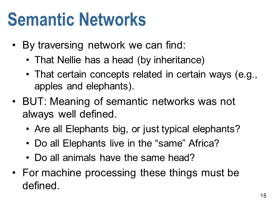 Semantic Networks By traversing network we can find: