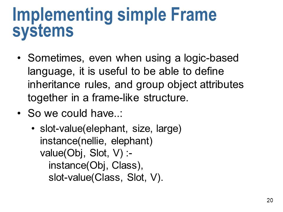 Implementing simple Frame systems