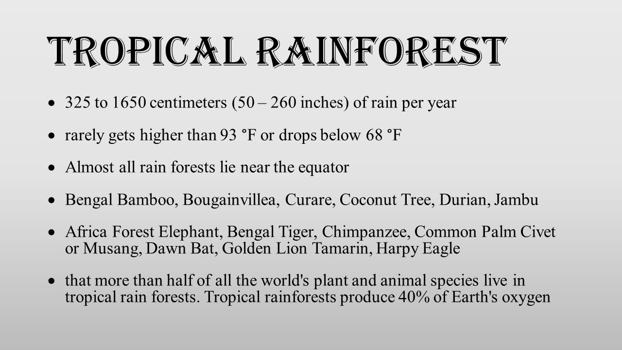 Tropical rainforest 325 to 1650 centimeters (50 – 260 inches) of rain per year. rarely gets higher than 93 °F or drops below 68 °F.