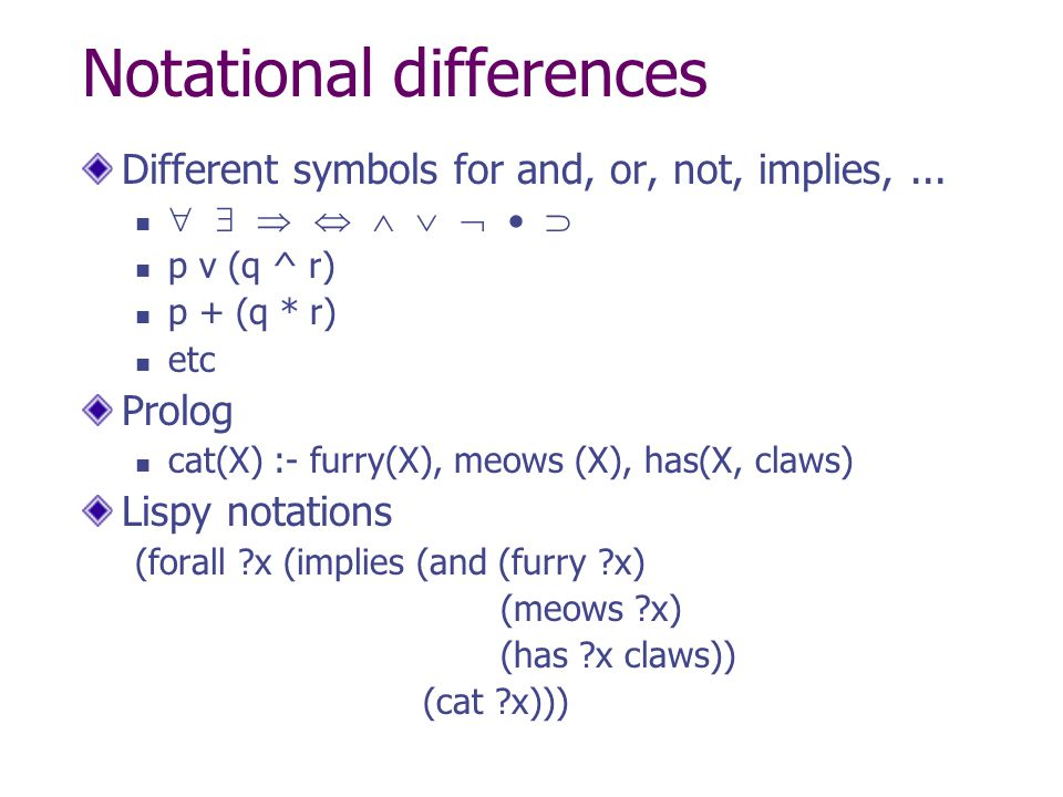 Notational differences
