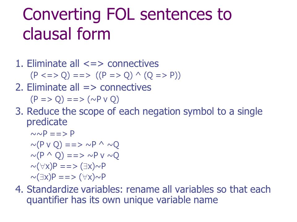 Converting FOL sentences to clausal form