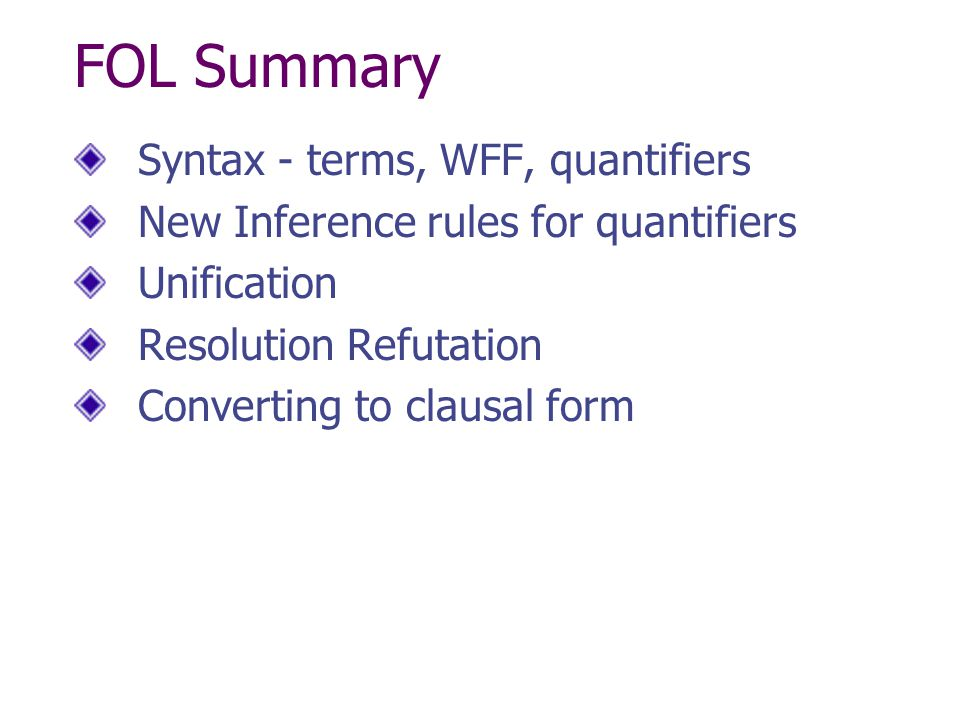 FOL Summary Syntax - terms, WFF, quantifiers