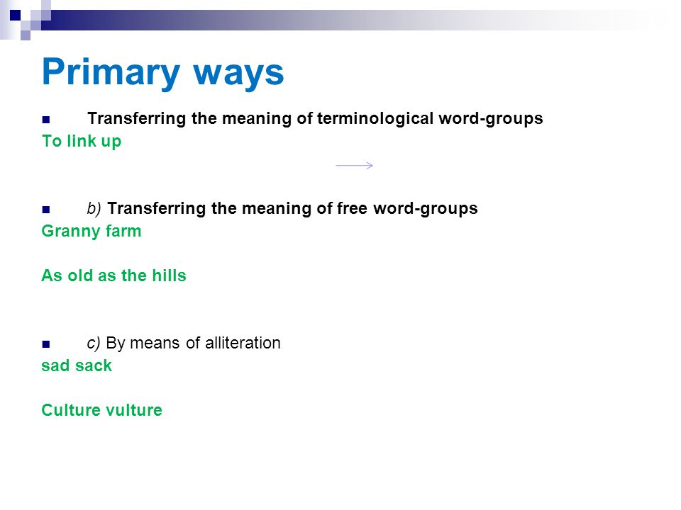 Primary ways Transferring the meaning of terminological word-groups