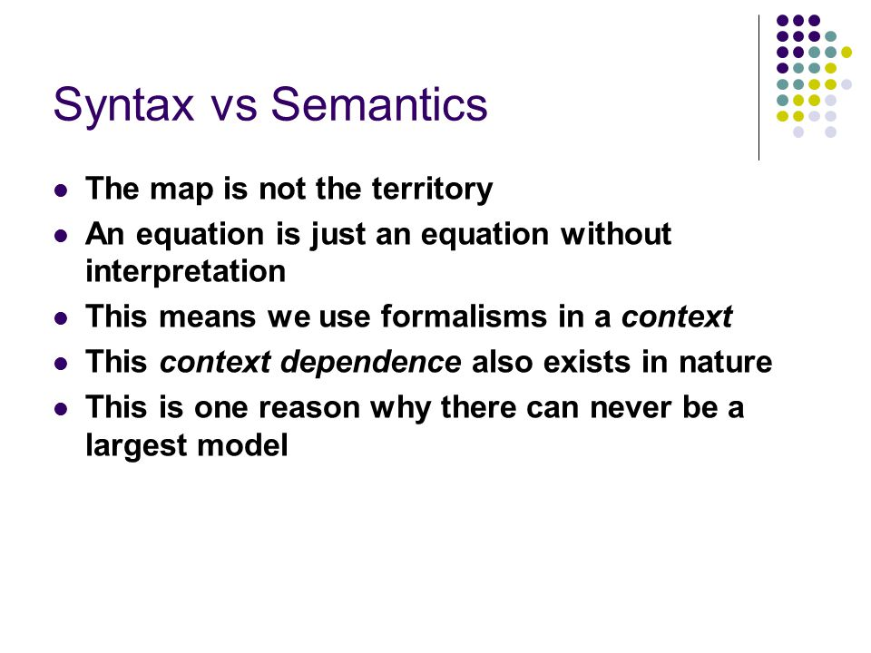 Syntax vs Semantics The map is not the territory