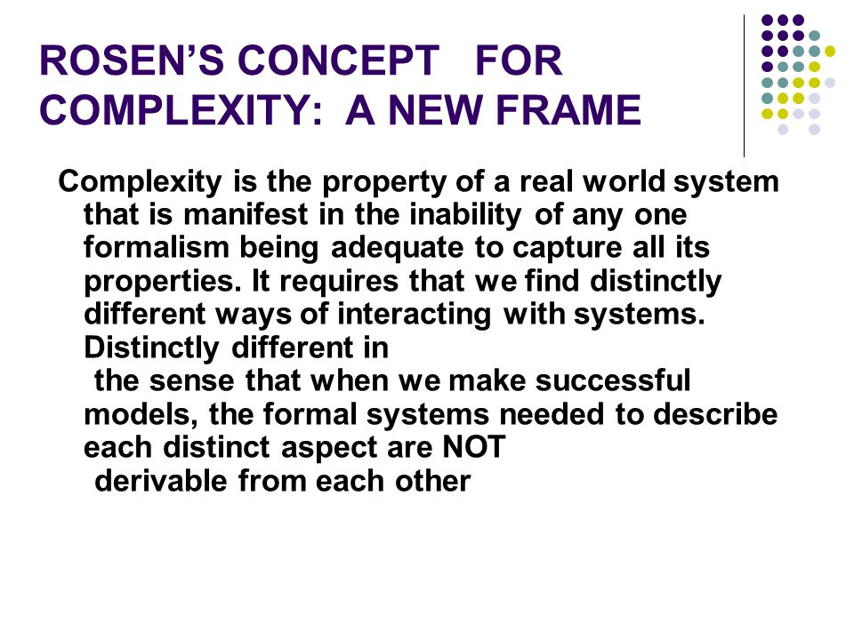 ROSEN'S CONCEPT FOR COMPLEXITY: A NEW FRAME