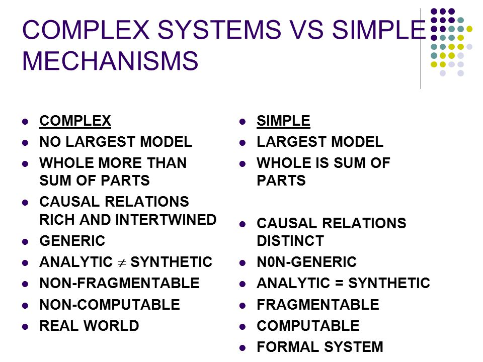 COMPLEX SYSTEMS VS SIMPLE MECHANISMS