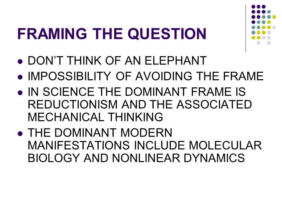FRAMING THE QUESTION DON'T THINK OF AN ELEPHANT