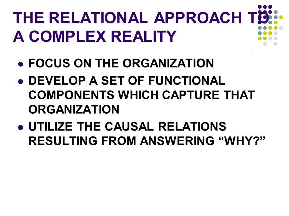 THE RELATIONAL APPROACH TO A COMPLEX REALITY