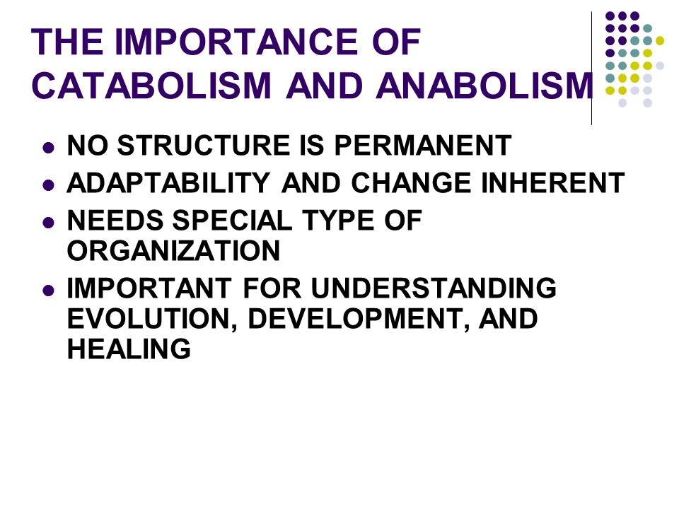 THE IMPORTANCE OF CATABOLISM AND ANABOLISM