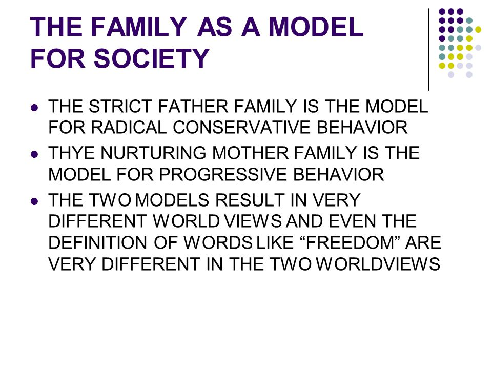 THE FAMILY AS A MODEL FOR SOCIETY