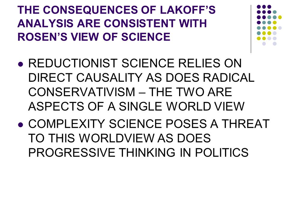 THE CONSEQUENCES OF LAKOFF'S ANALYSIS ARE CONSISTENT WITH ROSEN'S VIEW OF SCIENCE