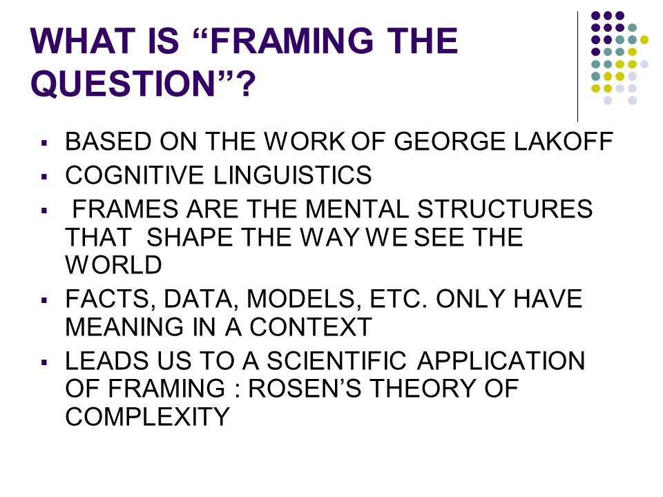 WHAT IS FRAMING THE QUESTION