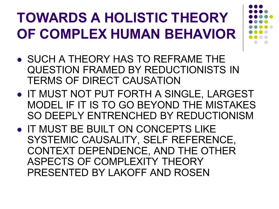 TOWARDS A HOLISTIC THEORY OF COMPLEX HUMAN BEHAVIOR