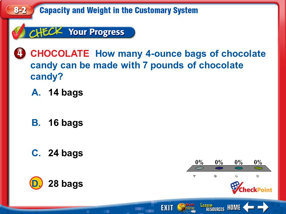 CHOCOLATE How many 4-ounce bags of chocolate candy can be made with 7 pounds of chocolate candy