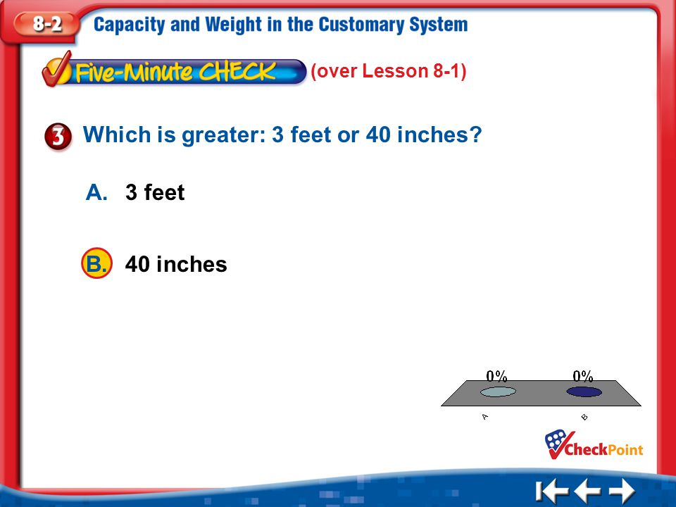 Which is greater: 3 feet or 40 inches