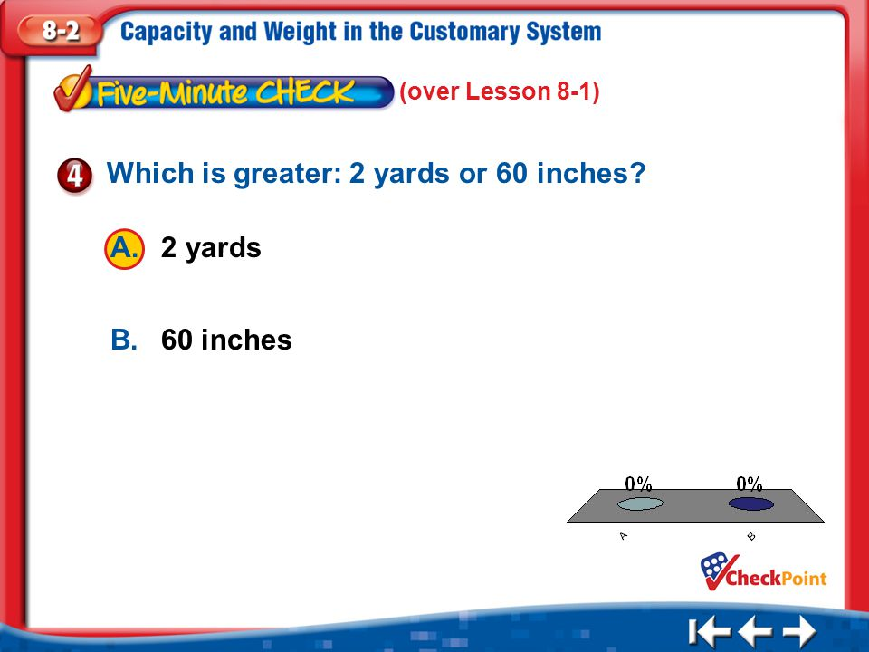 Which is greater: 2 yards or 60 inches